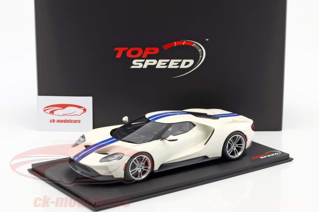 Ford GT white with blue stripes 1:18 TrueScale