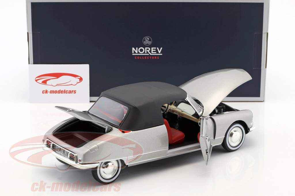 Citroen DS 19 Cabriolet mit abnehmbarem Dach Baujahr 1961 perlgrau metallic 1:18 Norev