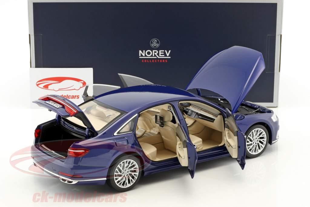 Audi A8 L année de construction 2017 bleu métallique 1:18 Norev