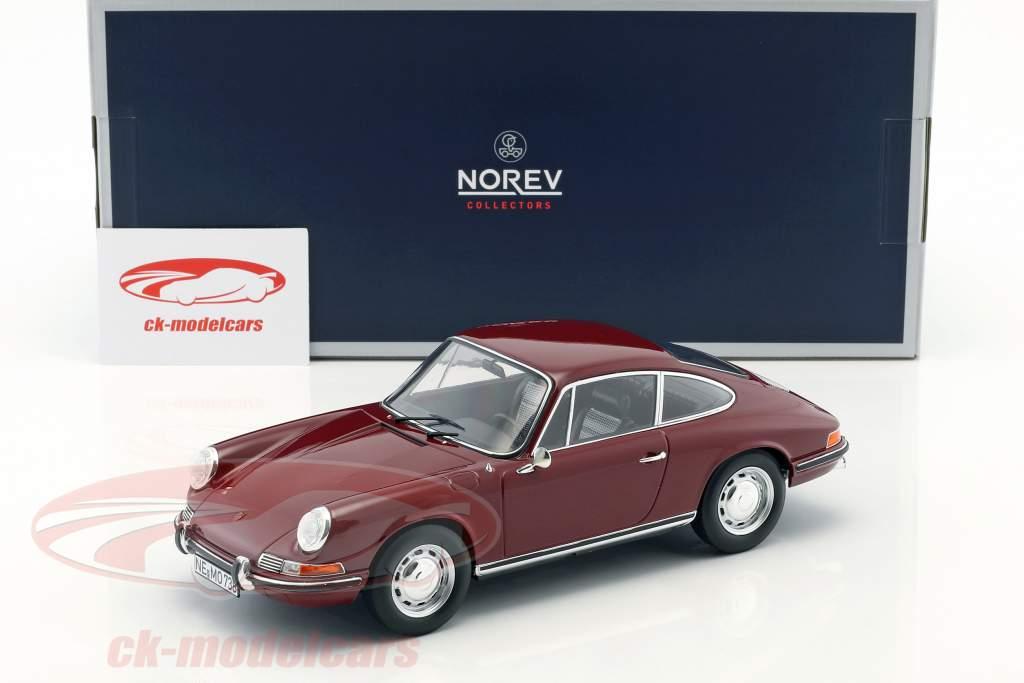 Porsche 911 T année de construction 1969 sombre rouge 1:18 Norev