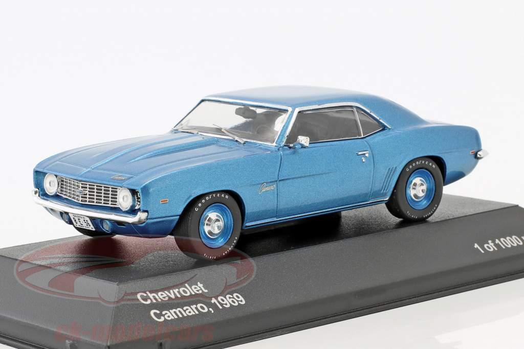 Chevrolet Camaro Baujahr 1969 blau metallic / blaue Felgen 1:43 WhiteBox