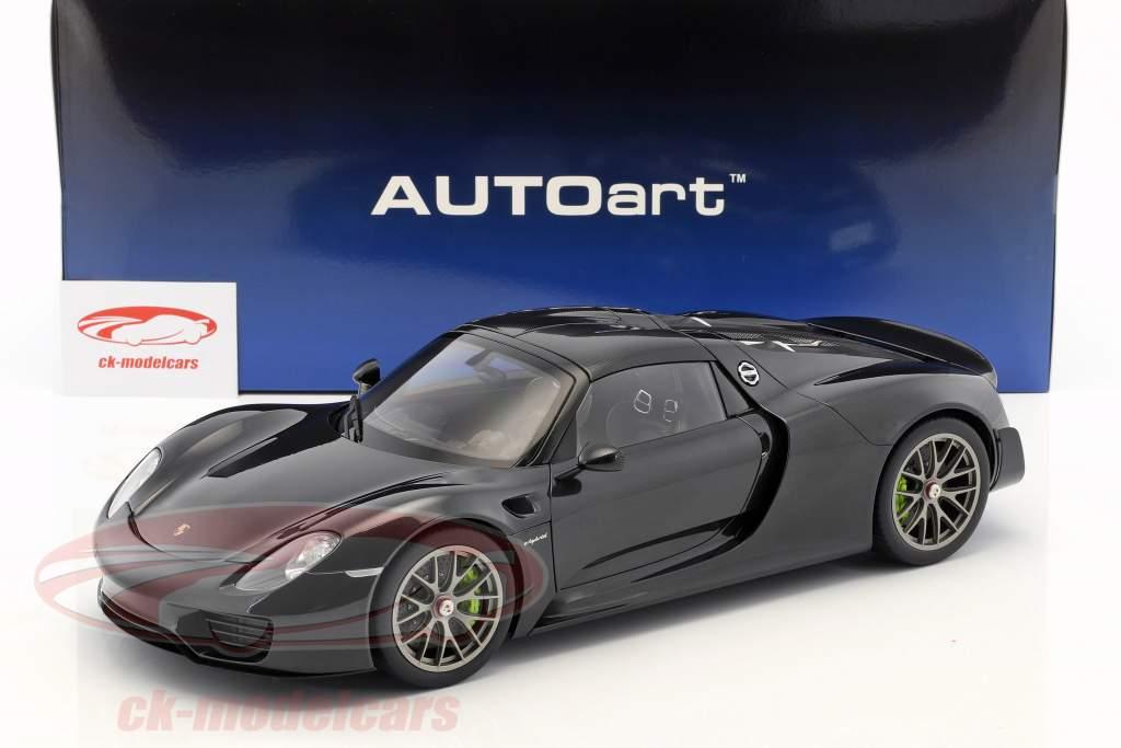 Porsche 918 Spyder Weissach Package ano de construção 2013 preto metálico 1:12 AUTOart