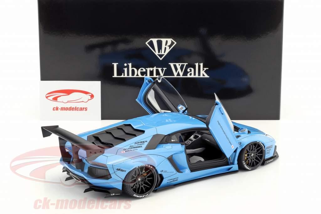 Lamborghini Aventador Liberty Walk LB-Works ano de construção 2015 céu azul metálico 1:18 AUTOart