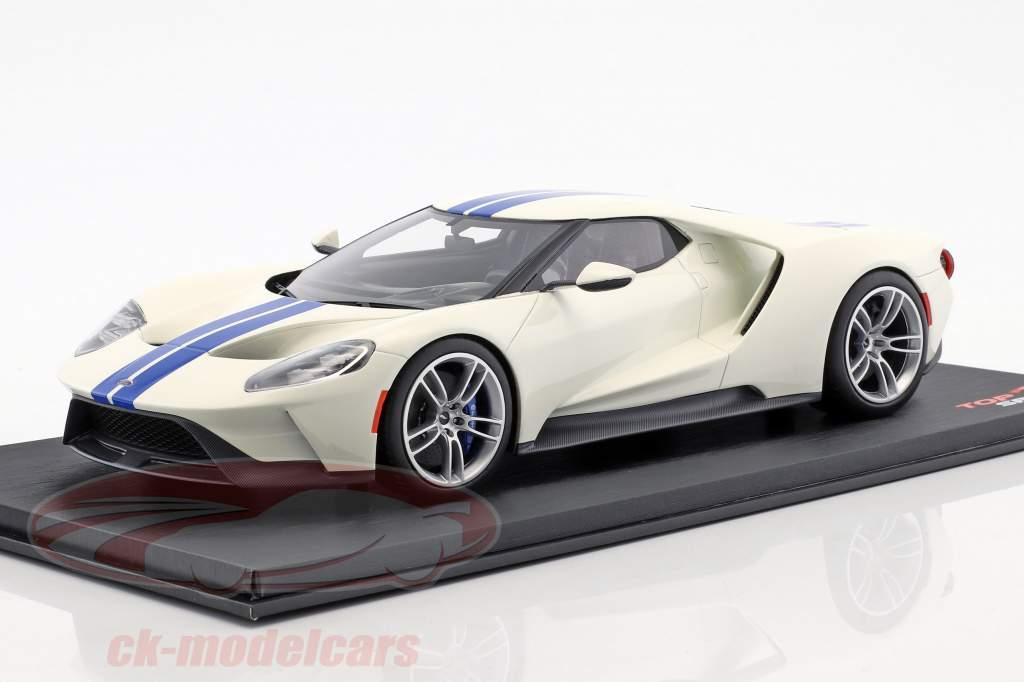 Ford GT bianco con blu strisce 1:18 TrueScale