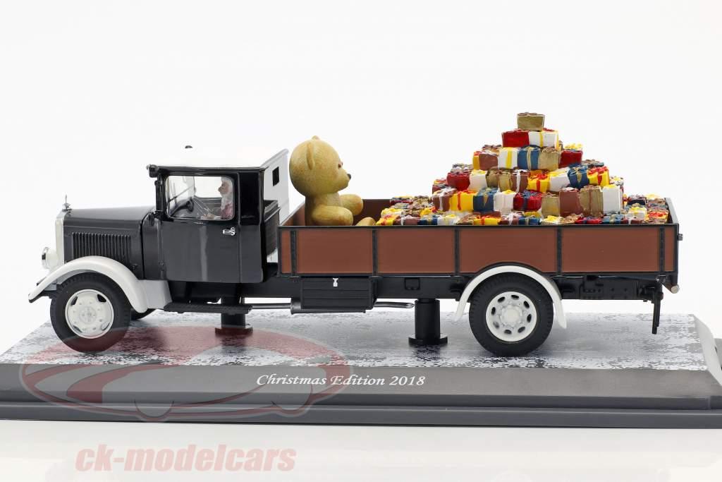 Mercedes-Benz Lo 2750 Noël édition 2018 noir / brun / blanc 1:43 Schuco