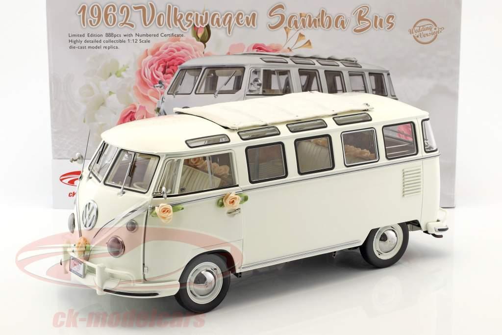 Volkswagen VW T1 Samba Bus ano 1962 Wedding version branco 1:12 SunStar