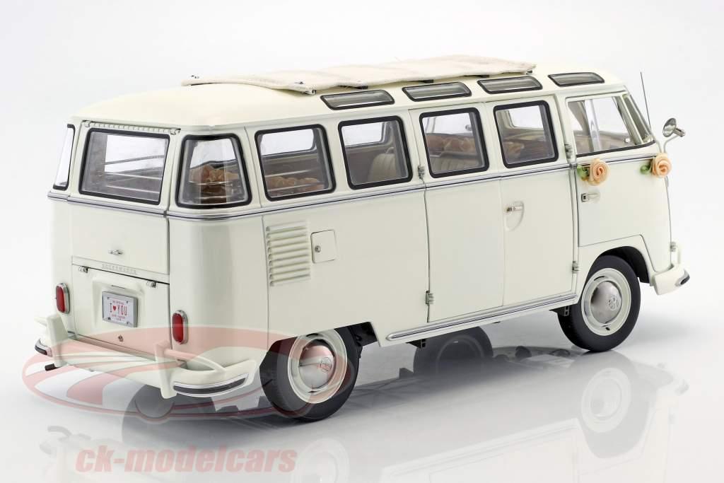 Volkswagen VW T1 Samba Bus Baujahr 1962 Wedding Version white 1:12 SunStar