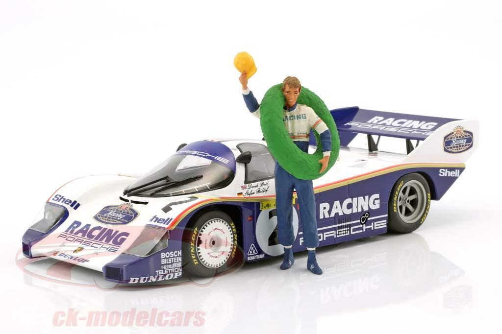 Stefan Bellof Driver figure with winner garland 1:18 FigurenManufaktur