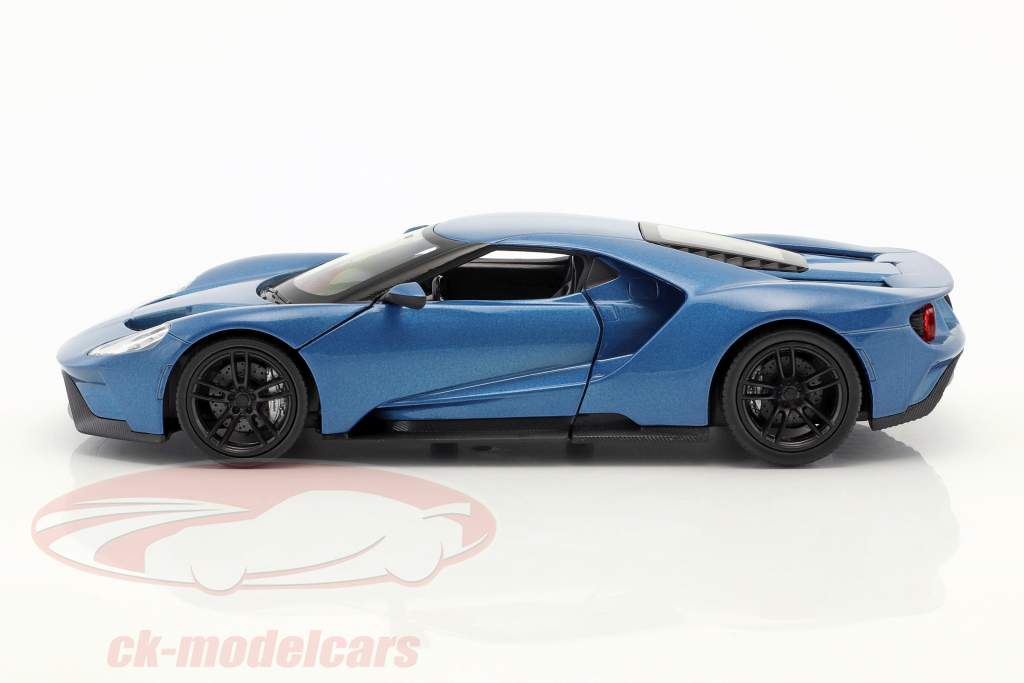Ford GT Bouwjaar 2017 blauw metalen 1:24 Welly