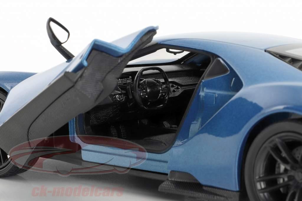 Ford GT Opførselsår 2017 blå metallisk 1:24 Welly