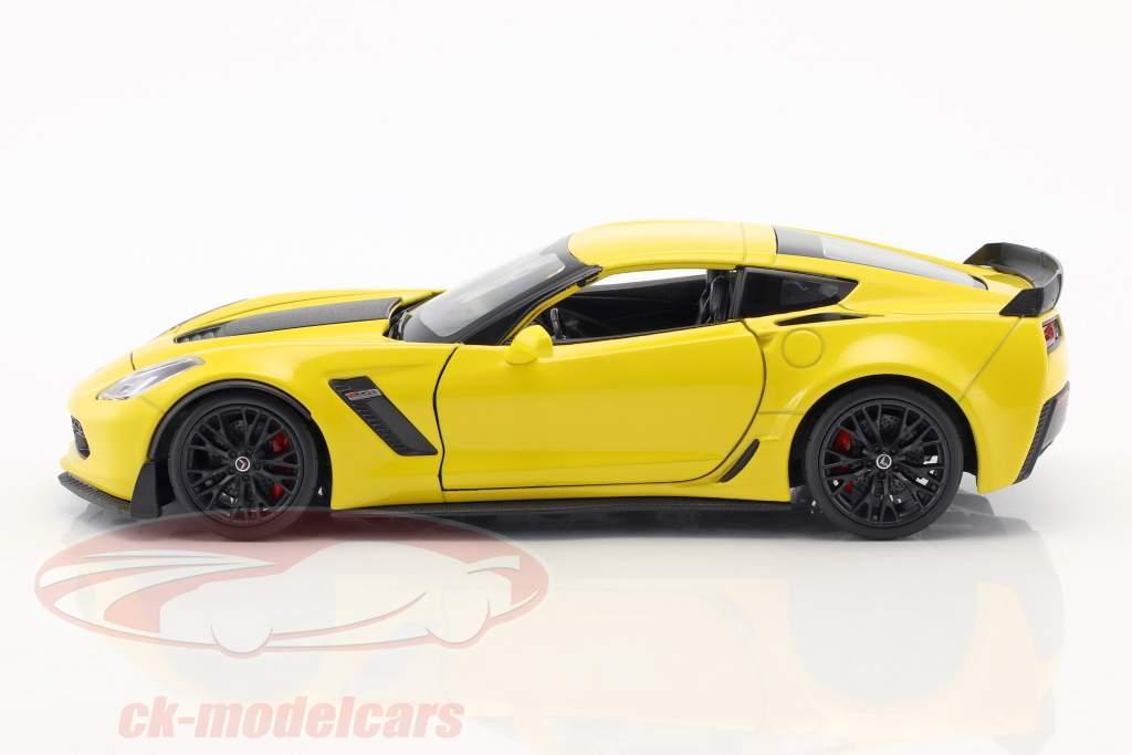 Chevrolet Corvette Z06 Bouwjaar 2017 geel 1:24 Welly
