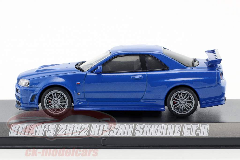 Brian/'s 2002 Nissan Skyline blue GT-R Fast Furious 2009 1//43 par greenlight 86219