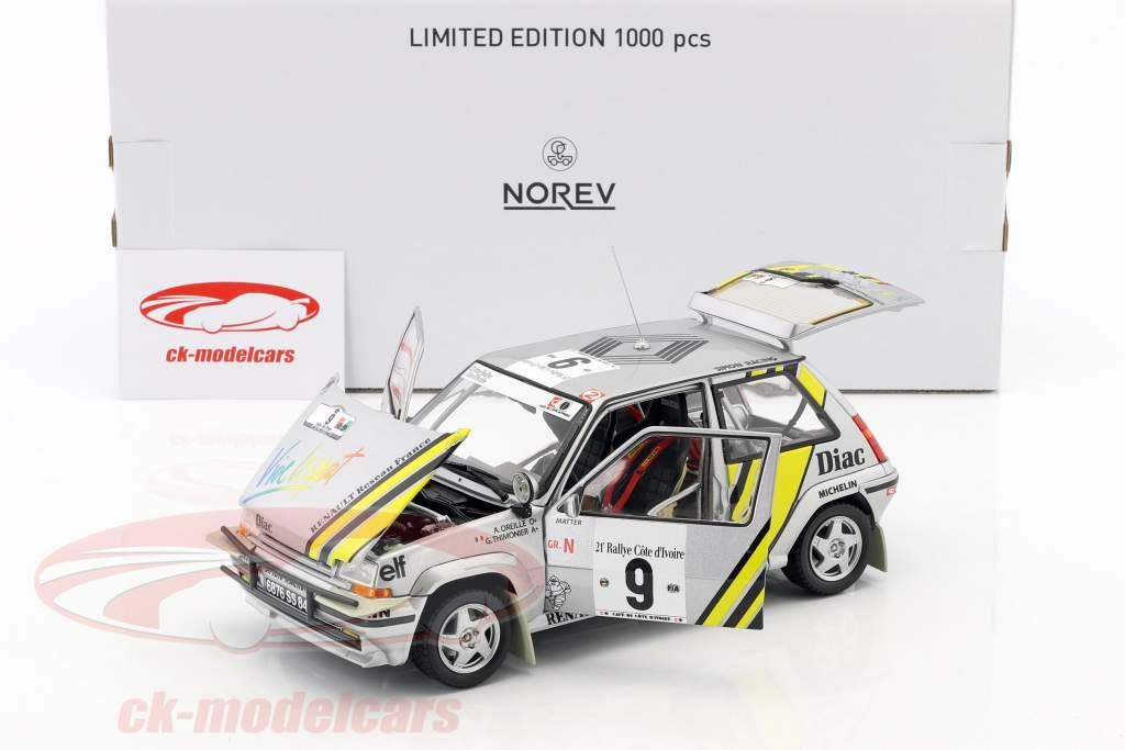 Renault Super 5 GT Turbo #9 gagnant rassemblement côte-d'Ivoire 1989 Oreille, Thimonier 1:18 Norev