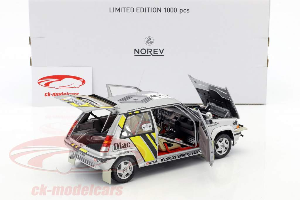 Renault Super 5 GT Turbo #9 Vinder rally kyst Ivory 1989 Oreille, Thimonier 1:18 Norev