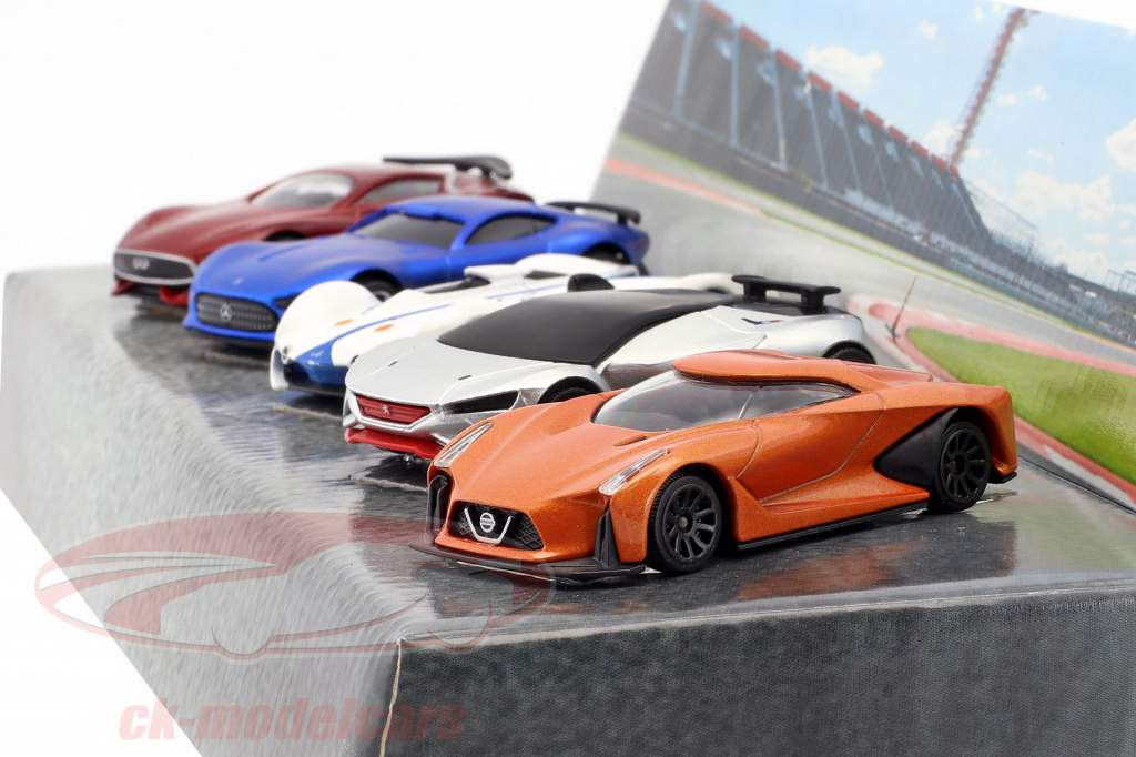 5-Car Set Vision Gran Turismo gelb / blau / schwarz / rot / silber 1:64 Majorette