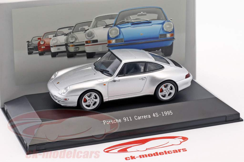 Porsche 911 (993) Carrera 4S año de construcción 1995 plata metálico 1:43 Atlas