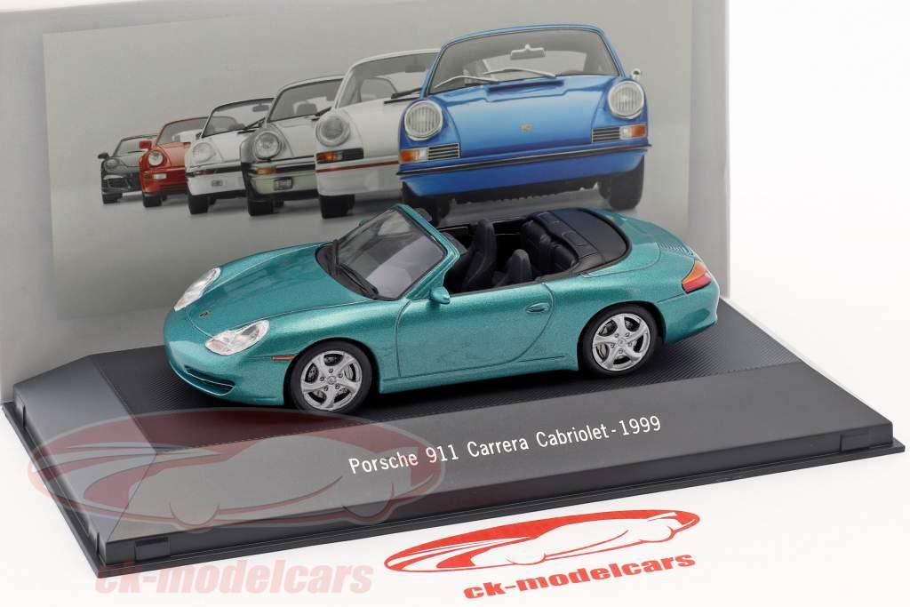Porsche 911 (996) Carrera Cabriolet Opførselsår 1999 grøn metallisk 1:43 Atlas