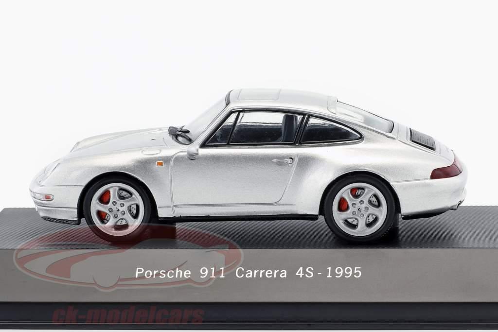 Porsche 911 (993) Carrera 4S Opførselsår 1995 sølv metallisk 1:43 Atlas