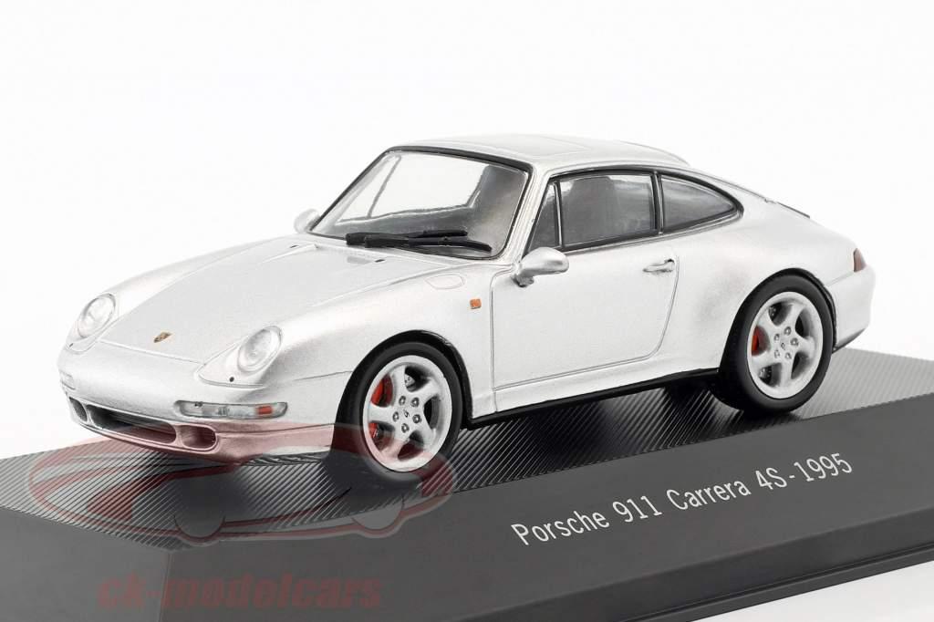 Porsche 911 (993) Carrera 4S année de construction 1995 argent métallique 1:43 Atlas
