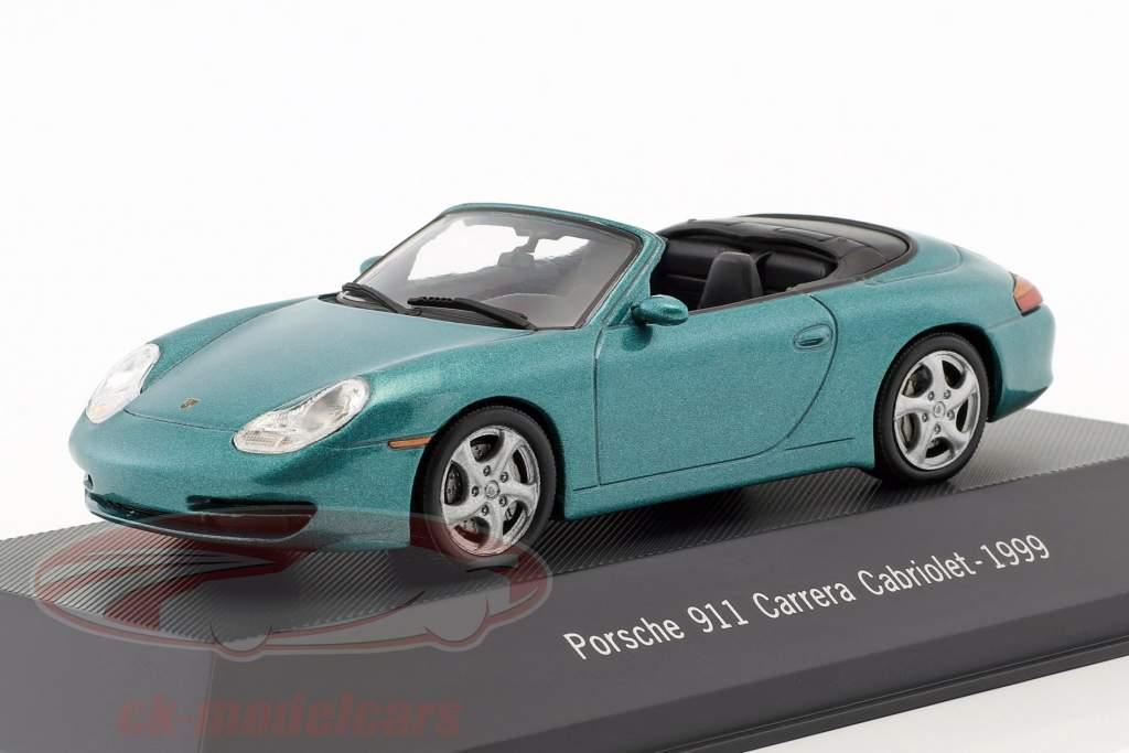 Porsche 911 (996) Carrera Cabriolet Bouwjaar 1999 groen metalen 1:43 Atlas