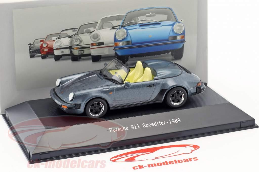 Porsche 911 Speedster Bouwjaar 1989 blauw metalen 1:43 Atlas