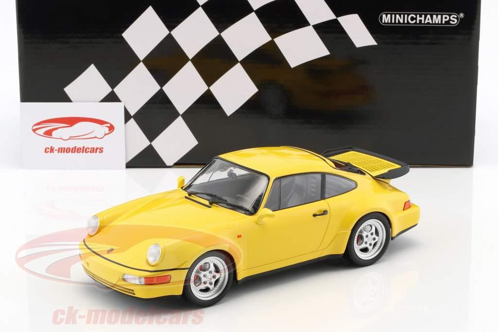 Porsche 911 (964) Turbo Bouwjaar 1990 geel 1:18 Minichamps