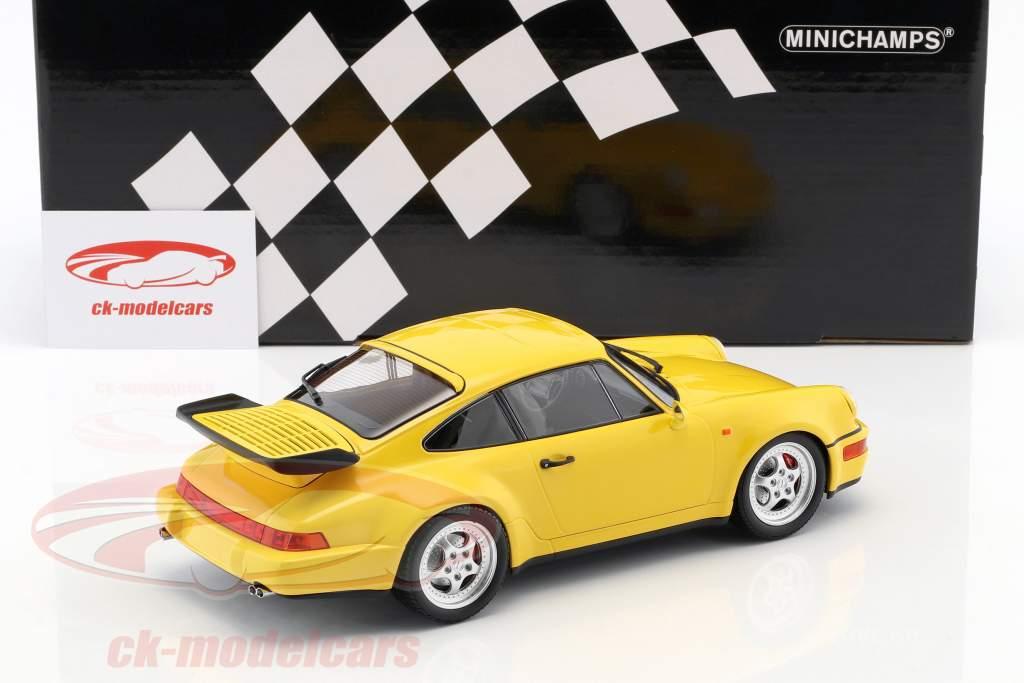 Porsche 911 (964) Turbo Opførselsår 1990 gul 1:18 Minichamps
