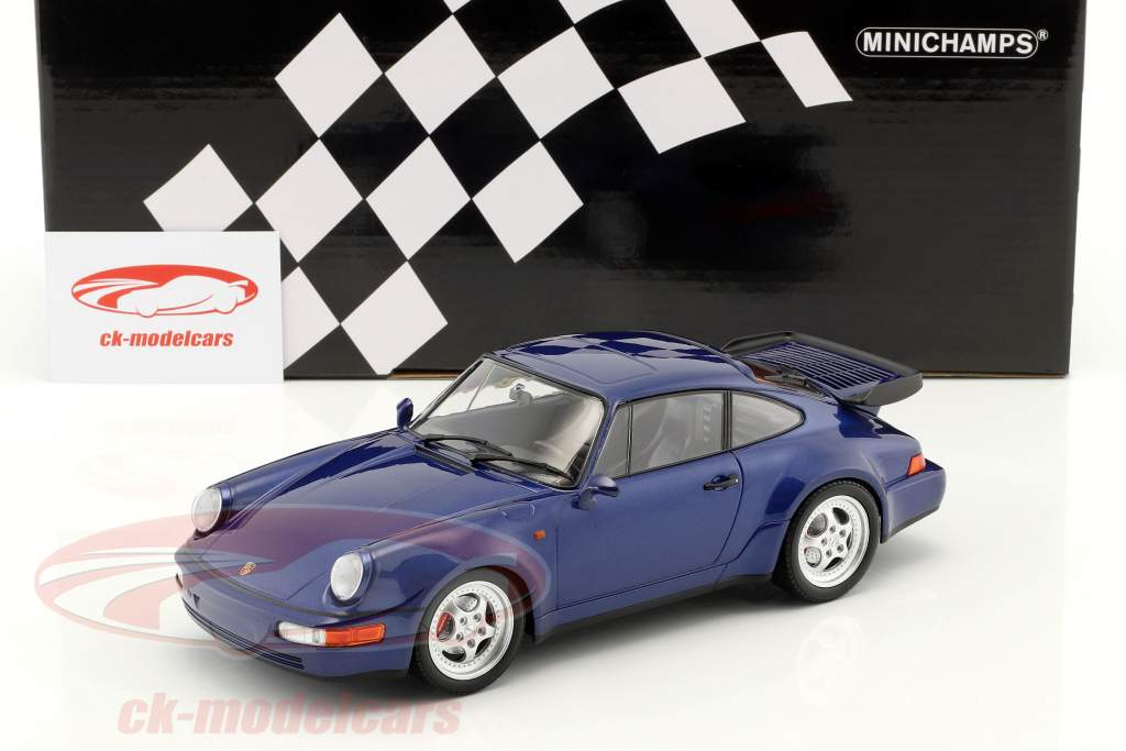 Porsche 911 (964) Turbo year 1990 blue metallic 1:18 Minichamps