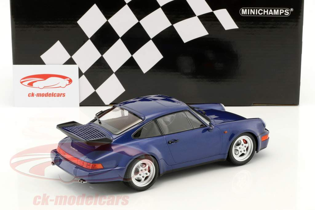 Porsche 911 (964) Turbo ano de construção 1990 azul metálico 1:18 Minichamps
