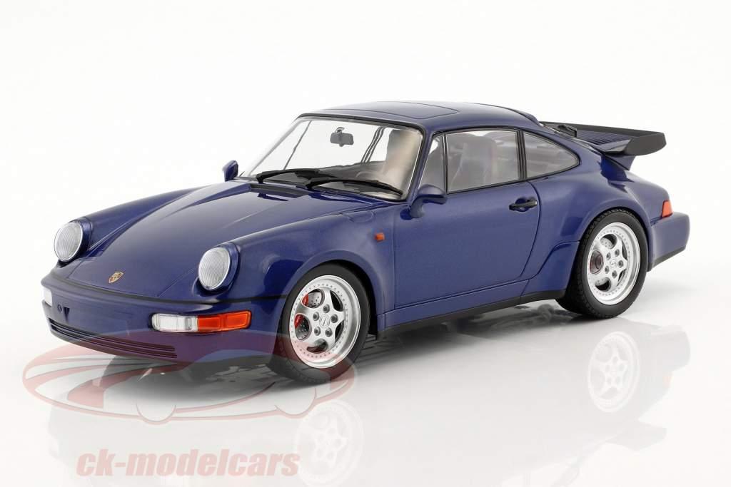 Porsche 911 (964) Turbo Bouwjaar 1990 blauw metalen 1:18 Minichamps