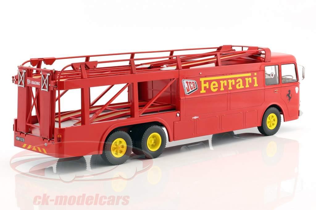Fiat Bartoletti 306/2 corsa trasportatore Ferrari JCB Racing rosso 1:18 Norev