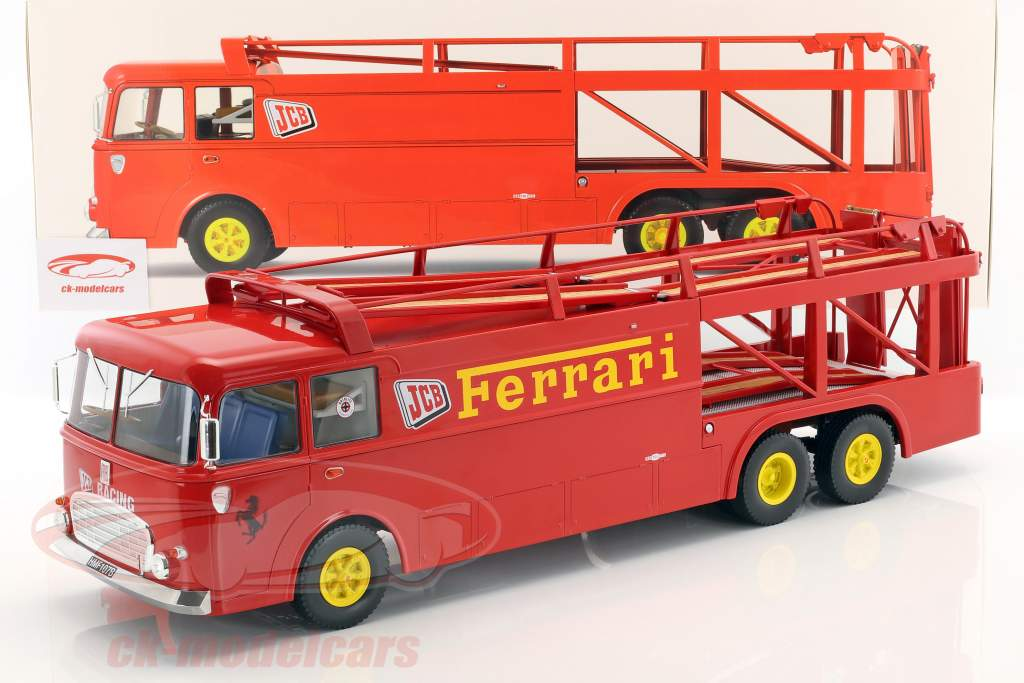 Fiat Bartoletti 306/2 carreras transportador Ferrari JCB Racing rojo 1:18 Norev