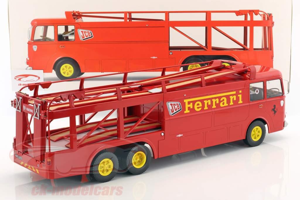 Fiat Bartoletti 306/2 Renntransporter Ferrari JCB Racing rot 1:18 Norev