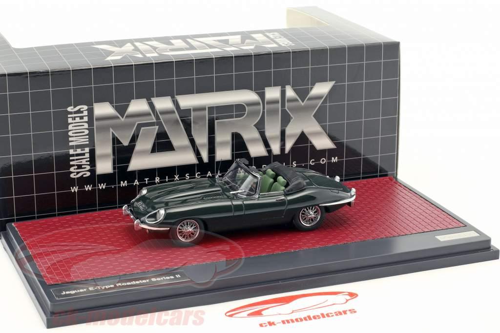 Jaguar E-Type SII Roadster Bouwjaar 1970 donkergroen metalen 1:43 Matrix
