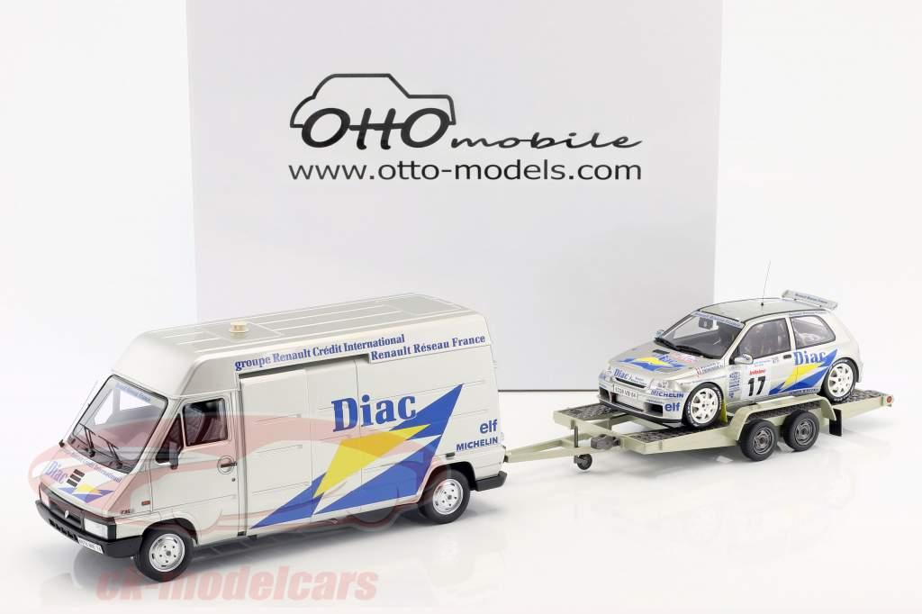 3-Car Set Rallye Tour de Corse 1995: Renault Master + Renault Clio Maxi + Trailer 1:18 OttOmobile