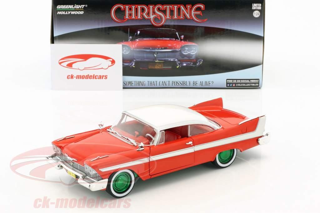 Plymouth Fury Baujahr 1958 Film Christine (1983) rot / weiß / silber / grün 1:24 Greenlight