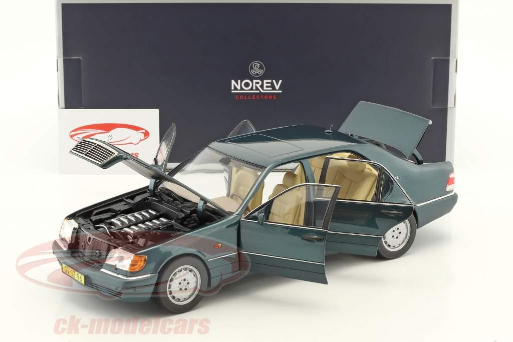 Mercedes-Benz S600 W140 Opførselsår 1997 grøn metallisk 1:18 Norev