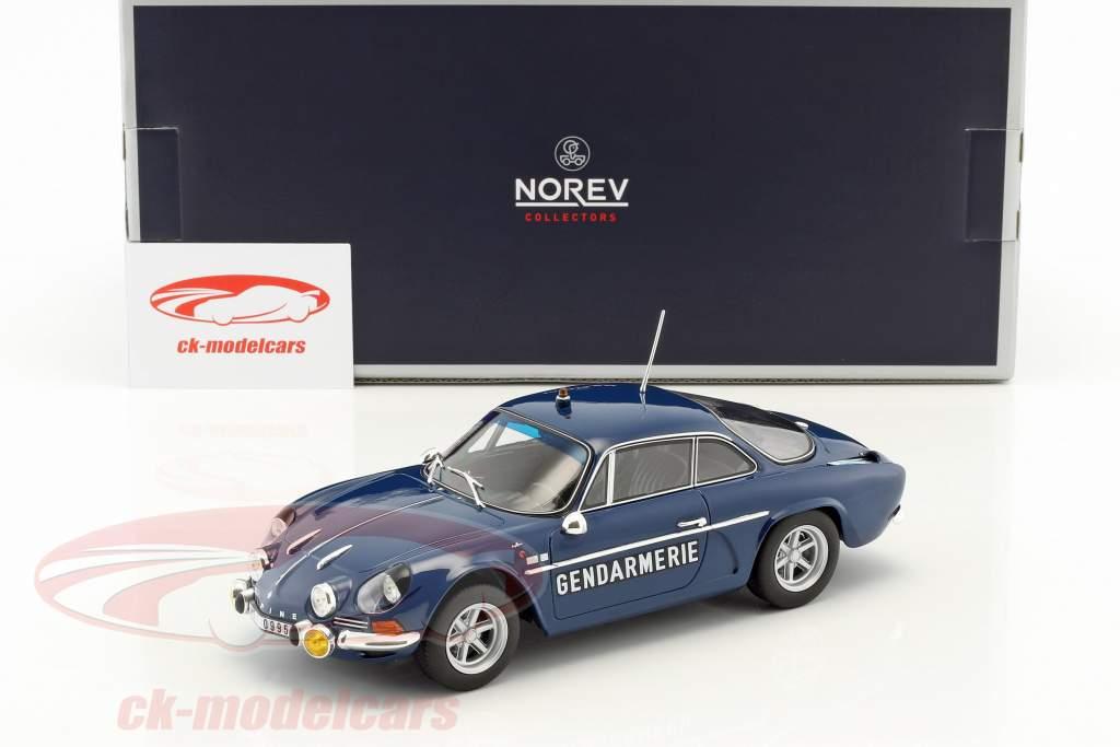 Alpine Renault A110 1600S Gendarmerie année de construction 1971 bleu 1:18 Norev