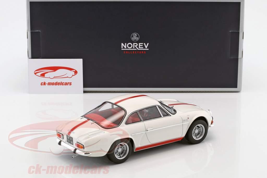 Alpine Renault A110 1600S Baujahr 1971 weiß mit roten Streifen 1:18 Norev