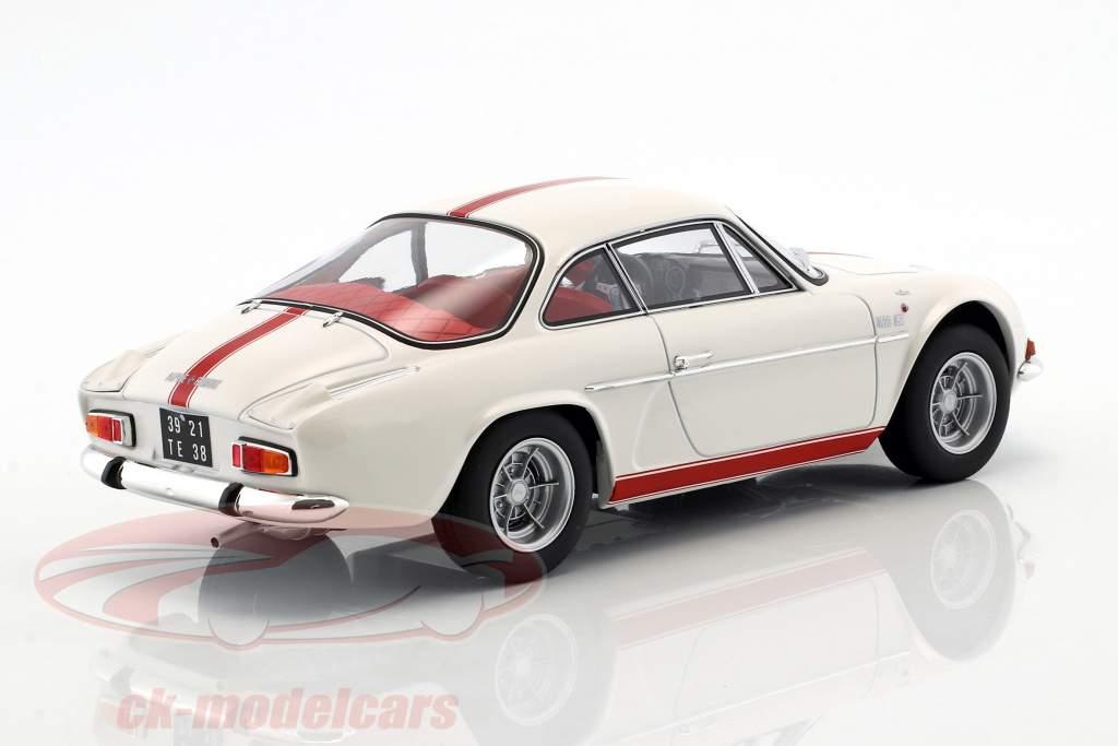 Alpine Renault A110 1600S Bouwjaar 1971 wit met rood strippen 1:18 Norev