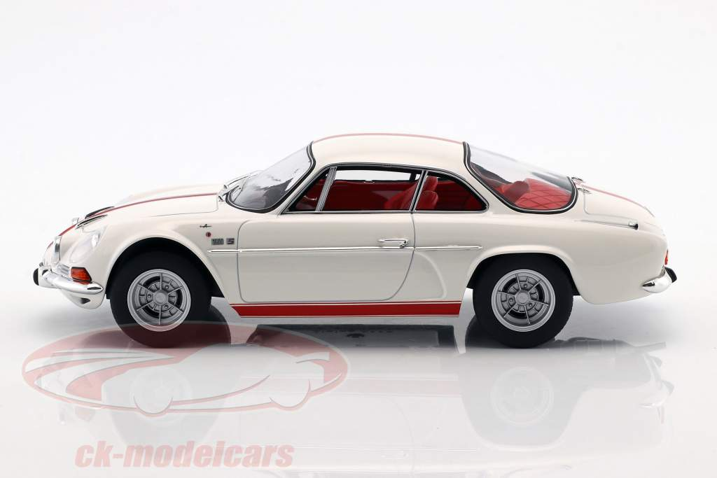 Alpine Renault A110 1600S year 1971 white with red stripping 1:18 Norev