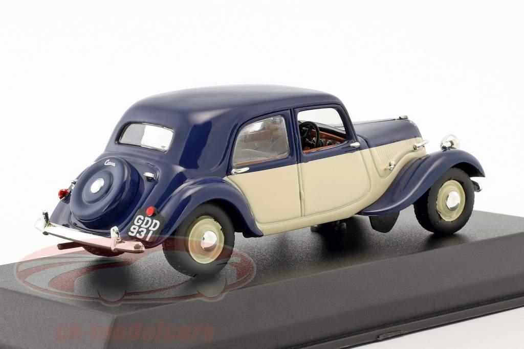 Citroen Light 15 Bouwjaar 1949 donkerblauw / crème wit 1:43 Norev