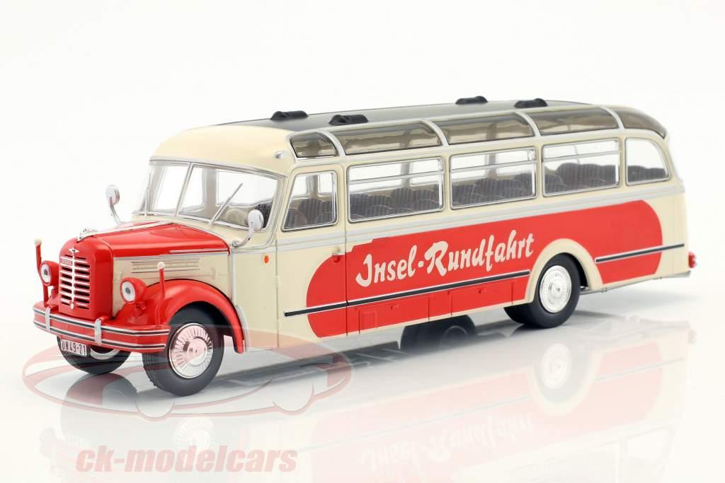 Borgward BO 4000 eiland tour Bouwjaar 1952 beige / rood 1:43 Ixo