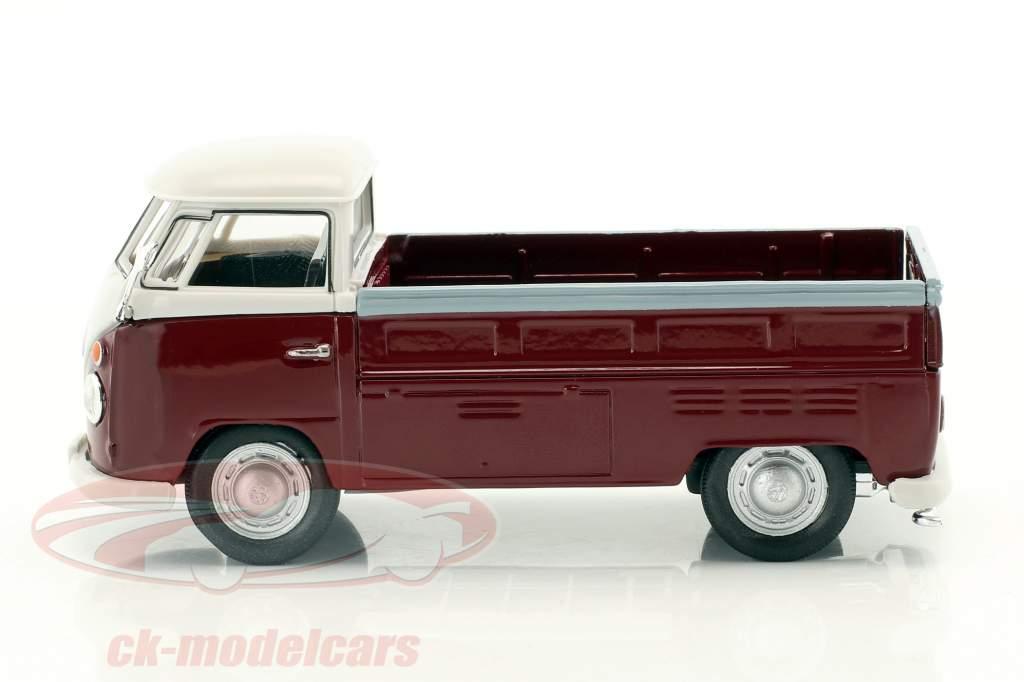Volkswagen VW T1 Pick Up Baujahr 1960 dunkelrot / weiß 1:43 Cararama