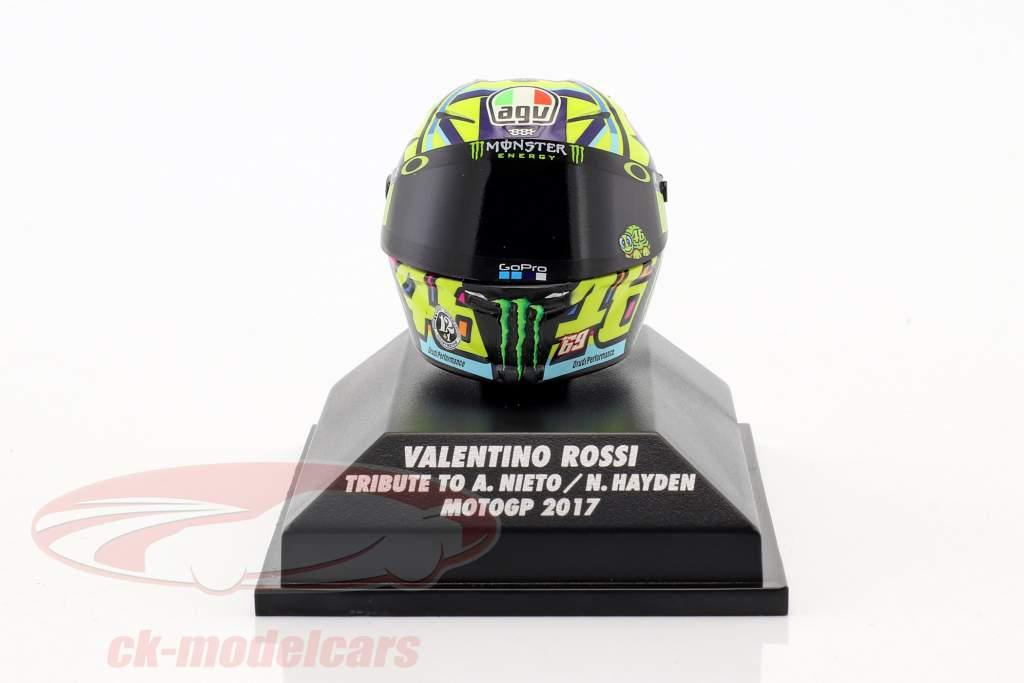 Valentino Rossi Moto GP 2017 omaggio a A. Nieto , N. Hayden AGV casco 1:8 Minichamps