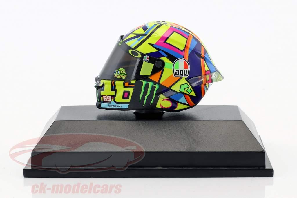 Valentino Rossi Moto GP 2017 Tribute to A. Nieto, N. Hayden AGV Helm 1:8 Minichamps