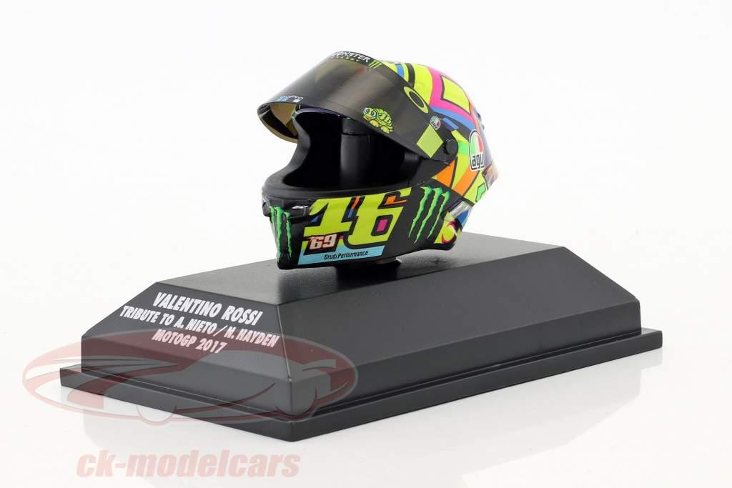 Valentino Rossi Moto GP 2017 schatting naar A. Nieto , N. Hayden AGV helm 1:8 Minichamps