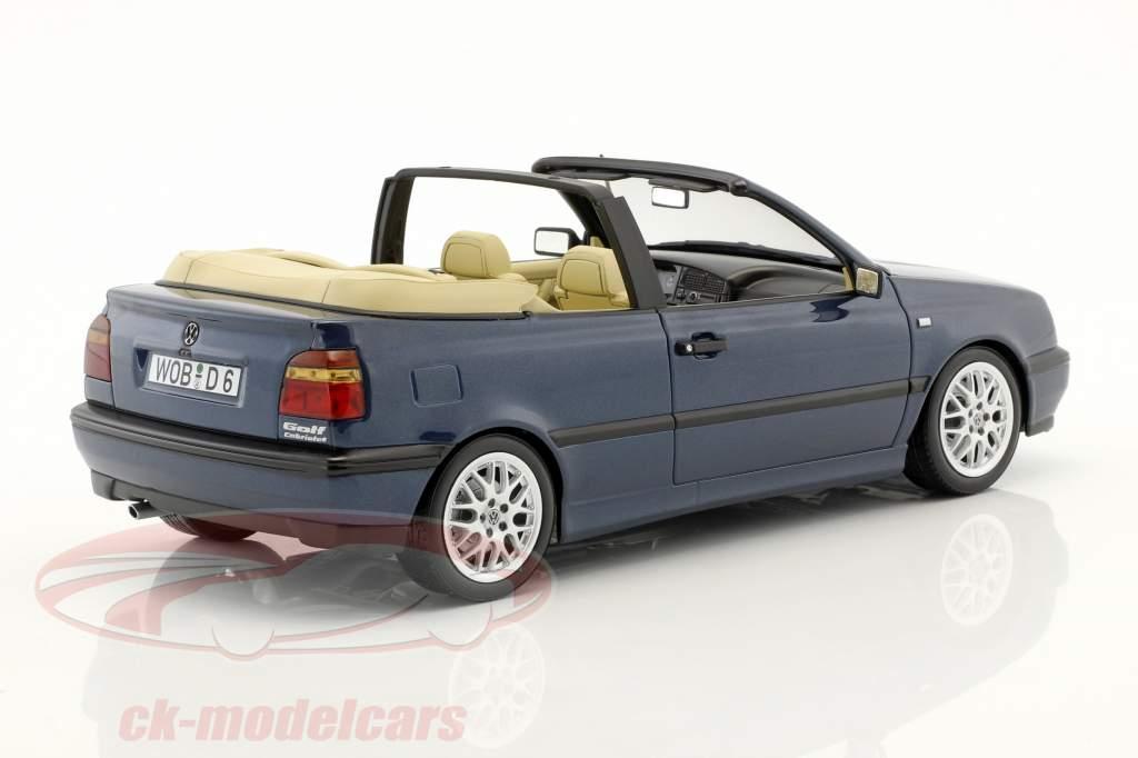 Volkswagen VW Golf 3 cabriolet année de construction 1995 bleu foncé métallique 1:18 Norev