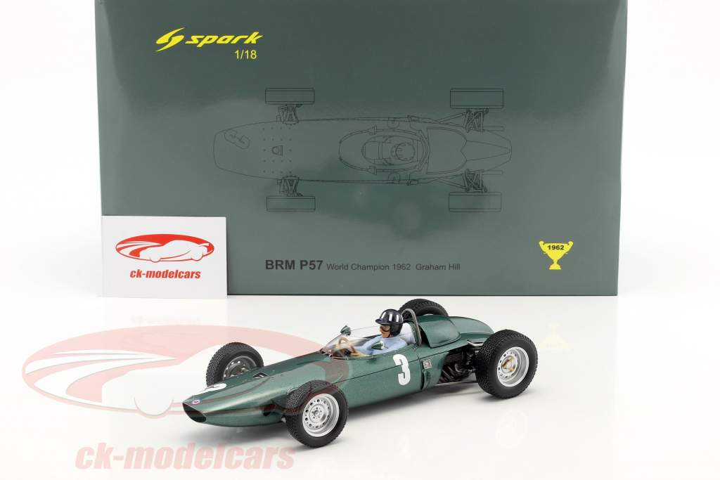 Graham Hill BRM P57 #3 World Champion South Africa GP formula 1 1962 1:18 Spark