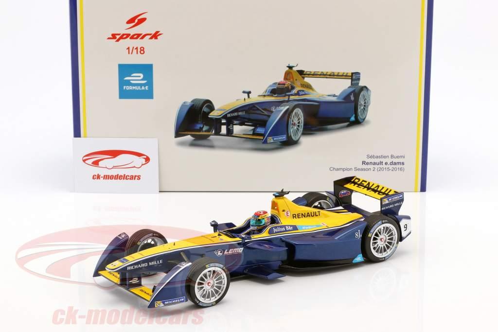 Sebastien Buemi RENAULT Z.E.15 #9 formule E champion saison 2 2015/16 1:18 Spark